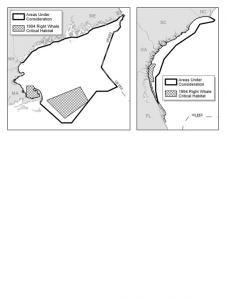 Figure 1: Comparison of Current Right Whale Critical Habitat to Areas Proposed for Critical Habitat Designation